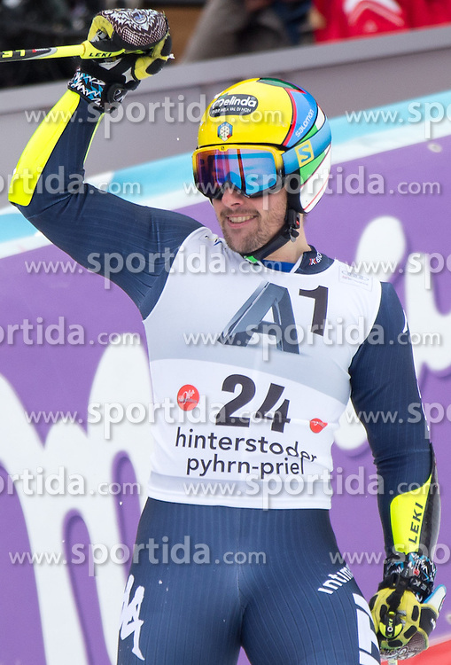 28.02.2016, Hannes Trinkl Rennstrecke, Hinterstoder, AUT, FIS Weltcup Ski Alpin, Hinterstoder, Riesenslalom, Herren, 2. Lauf, im Bild Luca De Aliprandini (ITA) // Luca De Aliprandini of Italy reacts after his 2nd run of men's Giant Slalom of Hinterstoder FIS Ski Alpine World Cup at the Hannes Trinkl Rennstrecke in Hinterstoder, Austria on 2016/02/28. EXPA Pictures © 2016, PhotoCredit: EXPA/ Johann Groder