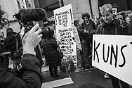 BELGIUM, Brussels. 14/11/2019: Artists demonstrating in front of the Flemish Parliament against budget cuts in Flanders.
