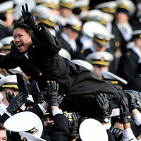 6 December 2008:   A Naval Academy Midshipmen celebrates a touchdown in the 2nd half against the Army Black Knights on December 6, 2008 at Lincoln Financial field in Philadelphia, Pennsylvania in the 109th Army Navy game.  Navy defeated Army 34-0 for the seventh consecutive time.