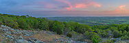 Bald Knob in Missouri is a great place to go backpacking and watch the sunset. Most of the area is a thick forest, with no view. But once you reach this glade, there is a beautiful view of the Belleview Valley below.<br />