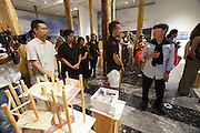 """13th Biennale of Architecture..Giardini..Japanese Pavillion..""""Architecture. Possible here?"""".Commissioner Toyo Ito (r.) showing around special guests."""