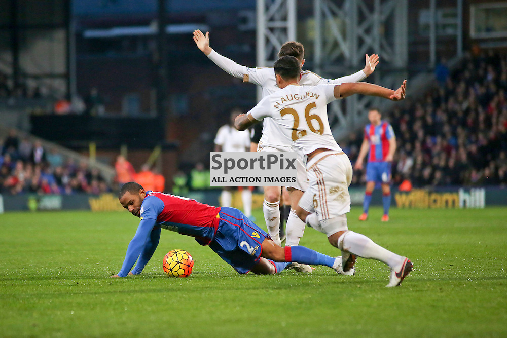 Jason Puncheon is fouled During Crystal Palace vs Swansea on Monday the 28th December 2015.