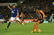 Abel Hernandez (right) of Hull City faces Antolin Alcaraz of Everton during the Barclays Premier League match at KC Stadium, Hull<br /> Picture by Richard Gould/Focus Images Ltd +44 7855 403186<br /> 01/01/2015