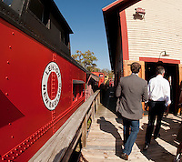 Republican Presidential candidate Jon Huntsman vists at the Merrimack Valley Railroad Company in Tilton on Monday afternoon.  (Karen Bobotas/for the Concord Monitor)