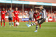 Notts County forward Jonathan Stead (30) takes a penalty and scores during the EFL Sky Bet League 2 match between Crawley Town and Notts County at the Checkatrade.com Stadium, Crawley, England on 27 August 2016. Photo by Andy Walter.