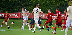 KIRKBY, ENGLAND - Saturday, August 31, 2019: Liverpool's Niall Brookwell scores the third goal during the Under-18 FA Premier League match between Liverpool FC and Manchester United at the Liverpool Academy. (Pic by David Rawcliffe/Propaganda)