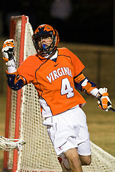 Virginia Cavaliers A Gavin Gill (4) celebrates after scoring a goal against Mt. Saint Mary's.  The #2 ranked Virginia Cavaliers defeated the Mt. Saint Mary's Mount 10-2 at the University of Virginia's Klockner Stadium in Charlottesville, VA on February 24, 2009.  (Special to the Daily Progress / Jason O. Watson)