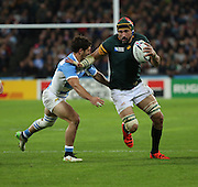South Africa's Captain Victor Matfield in possibly his last game for South Africa during the Rugby World Cup Bronze Final match between South Africa and Argentina at the Queen Elizabeth II Olympic Park, London, United Kingdom on 30 October 2015. Photo by Matthew Redman.