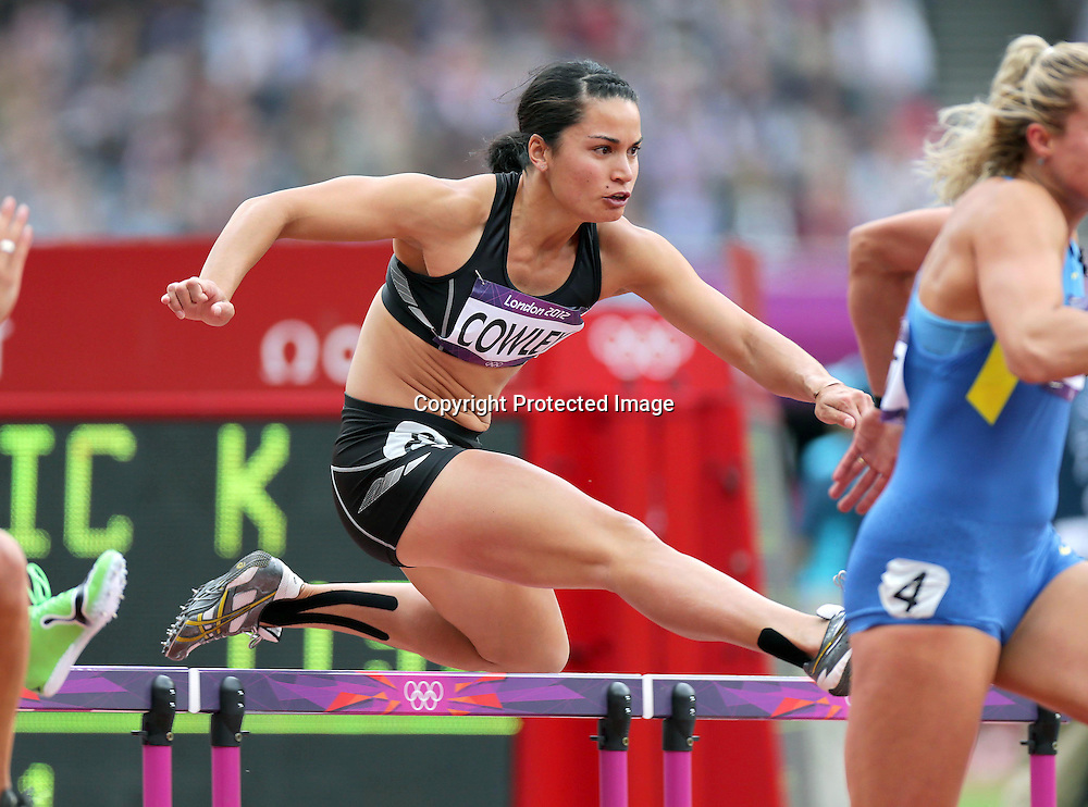 Athletics, London 2012 Olympic Games, Olympic Stadium, London, England 3/8/2012<br /> Women's Heptathlon 100m Hurdles heats<br /> New Zealand's Sara Cowley<br /> Mandatory Credit &copy;INPHO/Morgan Treacy