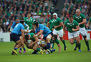 Italy's scrum half Edoardo Gori trying to stop an Ireland attack during the Rugby World Cup Pool D match between Ireland and Italy at the Queen Elizabeth II Olympic Park, London, United Kingdom on 4 October 2015. Photo by Matthew Redman.