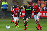 Forest Green Rovers Dayle Grubb(8) passes the ball forward during the EFL Sky Bet League 2 match between Crewe Alexandra and Forest Green Rovers at Alexandra Stadium, Crewe, England on 27 April 2019.