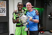 Forest Green Rovers Dale Bennett(6) and Forest Green Rovers physio Ian Weston with the trophy during the Vanarama National League Play Off Final match between Tranmere Rovers and Forest Green Rovers at Wembley Stadium, London, England on 14 May 2017. Photo by Shane Healey.