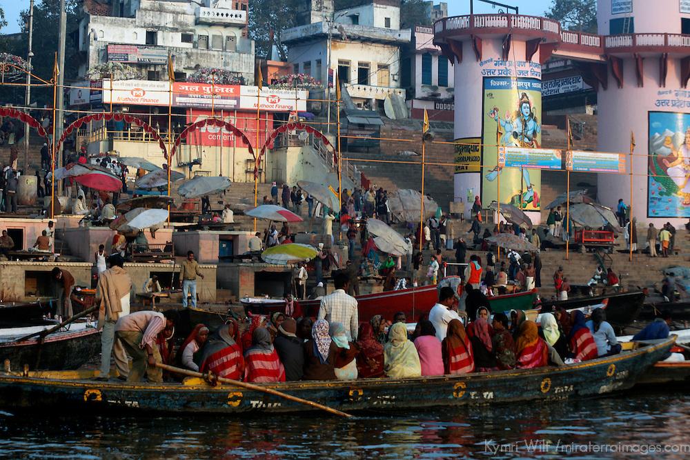 Asia, India, Varanasi. Activity along the shore, or ghats, of Varanasi.