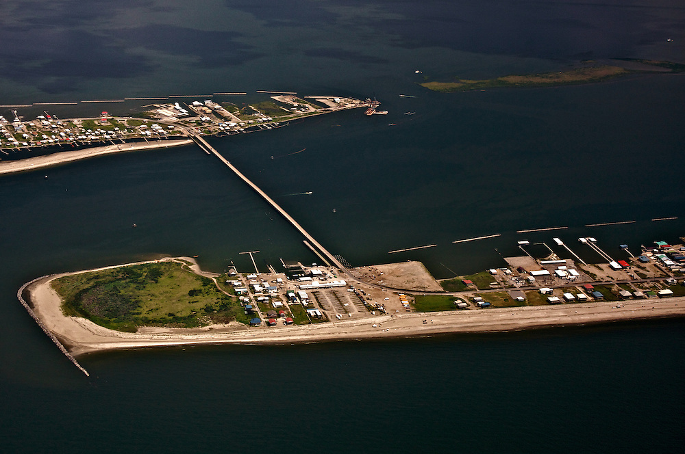West end of Grand Isle, LA-1 Bridge, and Cheniere Caminada, Louisiana, USA