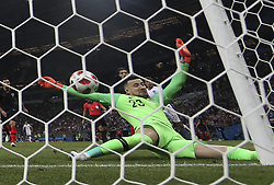 MOSCOW, July 11, 2018  Goalkeeper Danijel Subasic of Croatia defends during the 2018 FIFA World Cup semi-final match between England and Croatia in Moscow, Russia, July 11, 2018. Croatia won 2-1 and advanced to the final. (Credit Image: © Cao Can/Xinhua via ZUMA Wire)