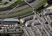 aerial photograph of Britannia Mills Bingley  Bradford Yorkshire  England UK
