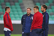 Wayne Rooney of england, Jamie Vardy and Gareth Southgate during a general stadium walk around before the Slovenia vs England FIFA World Cup Group F Qualifier match at Stadion Stozce, Ljubljana, Slovenia on 10 October 2016. Photo by Phil Duncan.