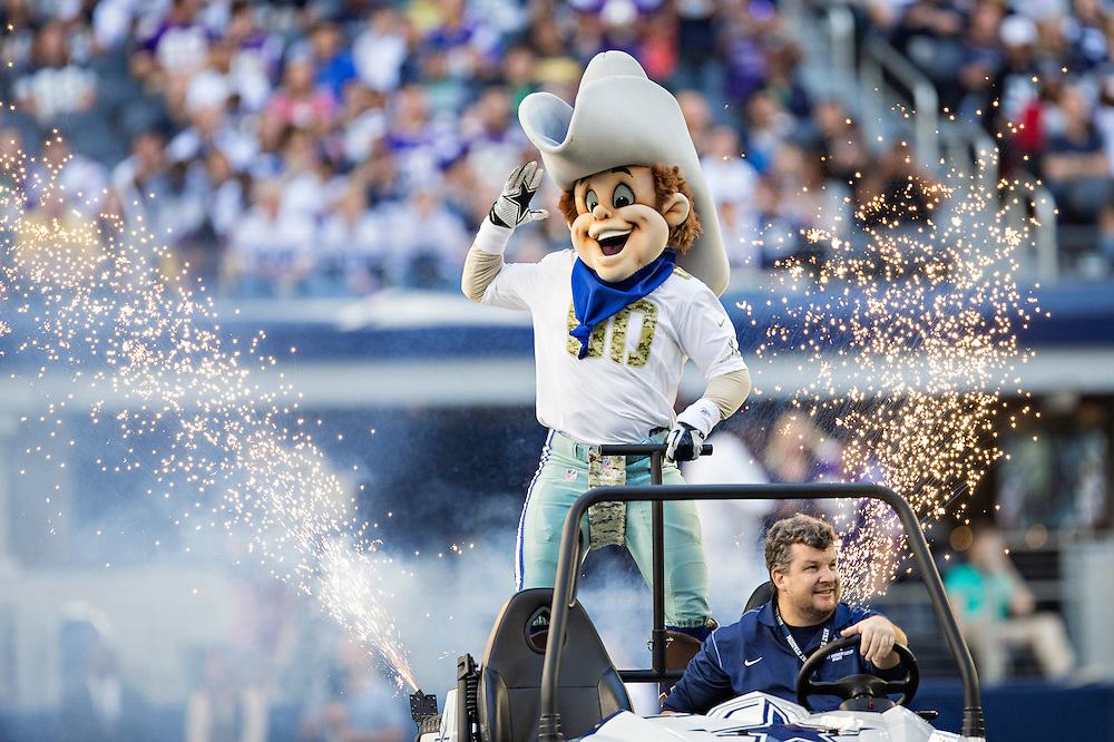 ARLINGTON, TX - NOVEMBER 3:  Mascot Rowdy of the Dallas Cowboys entertains before a game against the Minnesota Vikings at AT&T Stadium on November 3, 2013 in Arlington, Texas.  The Cowboys defeated the Vikings 27-23.  (Photo by Wesley Hitt/Getty Images) *** Local Caption ***