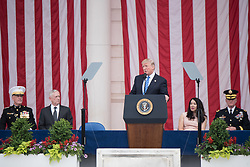 May 29, 2017 - Arlington, VA, United States of America - U.S. President Donald Trump delivers his address during the annual Memorial Day Observance as at the Memorial Amphitheater in Arlington National Cemetery May 29, 2017 in Arlington, Virginia. (Credit Image: © James K. Mccann/Planet Pix via ZUMA Wire)