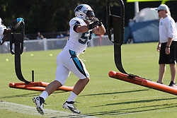July 28, 2018 - Spartanburg, SC, U.S. - SPARTANBURG, SC - JULY 28: Luke Kuechly (59) linebacker Carolina Panthers runs through a drill during the third day of the Carolina Panthers training camp practice at Wofford College July 28, 2018 in Spartanburg, S.C. (Photo by John Byrum/Icon Sportswire) (Credit Image: © John Byrum/Icon SMI via ZUMA Press)