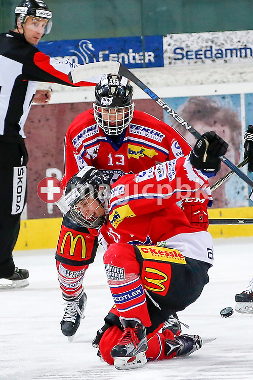 Rapperswil-Jona Lakers forward Frantisek REHAK (front) celebrates after scoring with his teammate Yanick SABLATNIG during a Novizen Elite ice hockey game between Rapperswil-Jona Lakers and SC Bern Future held at the Diners Club Arena in Rapperswil, Switzerland, Saturday, Feb. 6, 2016. (Photo by Patrick B. Kraemer / MAGICPBK)