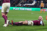 Aston Villa defender Alan Hutton (21) finds himself on the floor during the EFL Sky Bet Championship match between Hull City and Aston Villa at the KCOM Stadium, Kingston upon Hull, England on 31 March 2018. Picture by Mick Atkins.