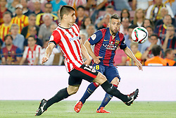 30.05.2015, Camp Nou, Barcelona, ESP, Copa del Rey, Athletic Club Bilbao vs FC Barcelona, Finale, im Bild Athletic de Bilbao's Unai Bustinza (l) and FC Barcelona's Jordi Alba // during the final match of spanish king's cup between Athletic Club Bilbao and Barcelona FC at Camp Nou in Barcelona, Spain on 2015/05/30. EXPA Pictures &copy; 2015, PhotoCredit: EXPA/ Alterphotos/ Acero<br /> <br /> *****ATTENTION - OUT of ESP, SUI*****