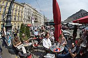The Naschmarkt, Vienna's biggest market. Open air restaurants and cafe?s.