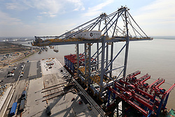 The World's biggest quay cranes which have recently been put into place at the London Gateway port  which is being built in the UK by DP World. The giant cranes are built in Shanghai and arrive by ship fully assembled. Thursday, 25th April 2013 Photo by: Stephen Lock / i-Images