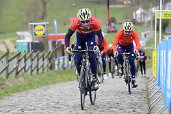 March 30, 2018 - Oudenaarde, Belgique - OUDENAARDE, BELGIUM - MARCH 30 : NIBALI Vincenzo (ITA)  of Bahrain - Merida on the Paterberg climb during a training session prior to the Flanders Classics UCI WorldTour 102nd Ronde van Vlaanderen cycling race with start in Antwerpen and finish in Oudenaarde on March 30, 2018 in Oudenaarde, Belgium, 30/03/2018 (Credit Image: © Panoramic via ZUMA Press)