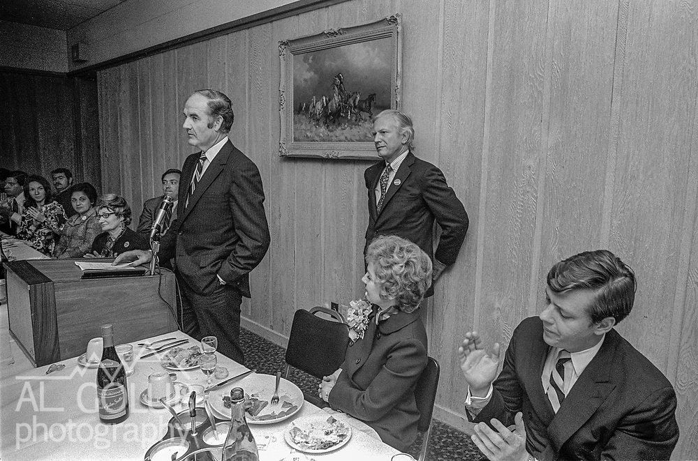 US Senator George S. McGovern Democrat from South Dakota visited Modesto, California to hold a Hearings of the US Senate select committee on nutrition and human needs on March 23, 1970.  Hearing subject was the Modesto Board of Education's decision to withdraw from the National School Lunch Program.  Over 200 persons crowed into the King-Kennedy Memorial Center on Modesto's West Side to hear different viewpoints.  After the hearing Local Democrats sponsored a lunch for the Senator.  Behind Senator McGovern is Albion Fenderson former first vice president Gallo Wine who died May 23, 2010 and on the far right is former federal judge Frank C. Damarell Jr.   Photo By Al Golub