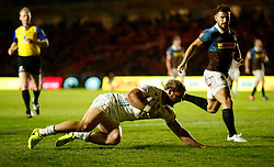 Exeter's Michele Campagnaro scores his side's second try during the Aviva Premiership match at Twickenham Stoop, London.
