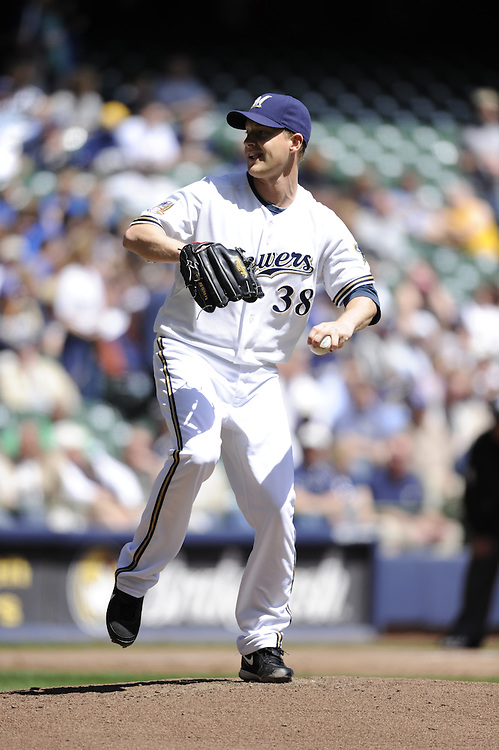 MILWAUKEE - APRIL 28:  Chris Naverson #38 of the Milwaukee Brewers pitches against the Pittsburgh Pirates on April 28, 2010 at Miller Park in Milwaukee, Wisconsin.  The Pirates defeated the Brewers 6-5 in 14 innings.  (Photo by Ron Vesely)