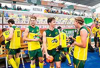 LUCKNOW (India) -   Junior World Cup hockey  U21 for men .  Australia v Austria. Ryan Proctor (AUS)  with Corey Weyer (AUS) after the match COPYRIGHT  KOEN SUYK