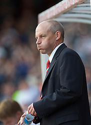 BRISTOL, ENGLAND - Saturday, August 7, 2010: Bristol City's Steve Coppell looks dejected as his side loses 3-0 to Millwall during their opening day League Championship match at Ashton Gate. (Pic by: David Rawcliffe/Propaganda)