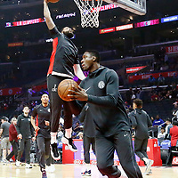 09 December 2017:  Washington Wizards center Ian Mahinmi (28) warms up prior to the LA Clippers 113-112 victory over the Washington Wizards, at the Staples Center, Los Angeles, California, USA.