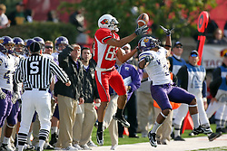 27 October 2007:  Patrick Stoudamire gets inside of Kevett Mickle on pass coverage.  Mickle makes the catch but is ruled out of bounds. The Western Illinois Leathernecks beat up on the Illinois State Redbirds  27-14 at Hancock Stadium on the campus of Illinois State University in Normal Illinois.