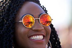 CARDIFF, WALES - Thursday, June 1, 2017: The Women's Champions League trophy reflected in the sunglasses of a supporter during the UEFA Women's Champions League Final between Olympique Lyonnais and Paris Saint-Germain FC at the Cardiff City Stadium. (Pic by David Rawcliffe/Propaganda)