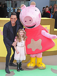© Licensed to London News Pictures. 01/02/2015, UK. Gareth Gates & Missy, Peppa Pig: The Golden Boots - UK Film Premiere, Odeon Leicester Square, London UK, 01 February 2015. Photo credit : Brett D. Cove/Piqtured/LNP