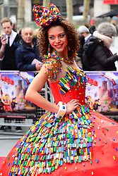 A model in a Lego dress attends The Lego Movie VIP film screening of CGI adventure, starring some of Lego's most popular figures, which features the voices of Elizabeth Banks, Chris Pratt, Will Arnett and Morgan Freeman, at Vue West End, London, United Kingdom. Sunday, 9th February 2014. Picture by Nils Jorgensen / i-Images