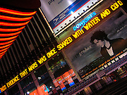 New York, NY, USA, 20040302: The streamer on Times Square on Manhattan announces that the NASA rover has found evidence that Mars once was soaked with water.<br /> Photo: Orjan F. Ellingvag/ Corbis