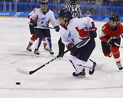 February 18, 2018 - Pyeongchang, KOREA - Korea defenseman Suyeon Eom (3) in a hockey game between Switzerland and Korea during the Pyeongchang 2018 Olympic Winter Games at Kwandong Hockey Centre. Switzerland beat Korea 2-0. (Credit Image: © David McIntyre via ZUMA Wire)