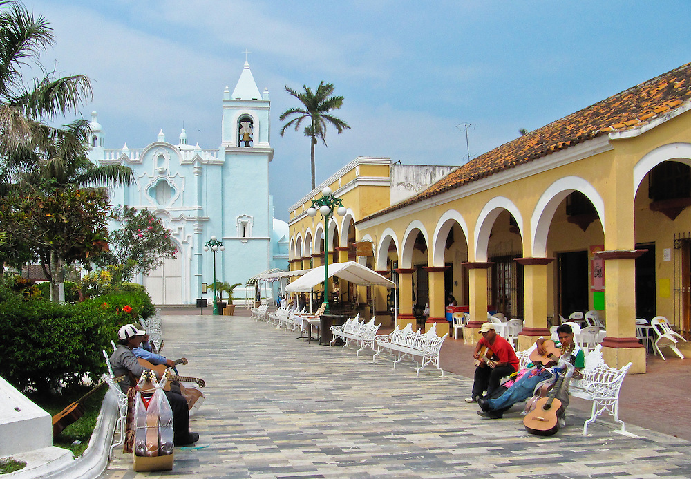 Selling guitars in the plaza of Tlacotalpan in Veracruz, Mexico