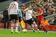 Marouane Fellaini of Manchester United battles with Liverpool defender Nathaniel Clyne (2) during the Europa League Round 16 match between Liverpool and Manchester United at Anfield, Liverpool, England on 10 March 2016. Photo by Phil Duncan.
