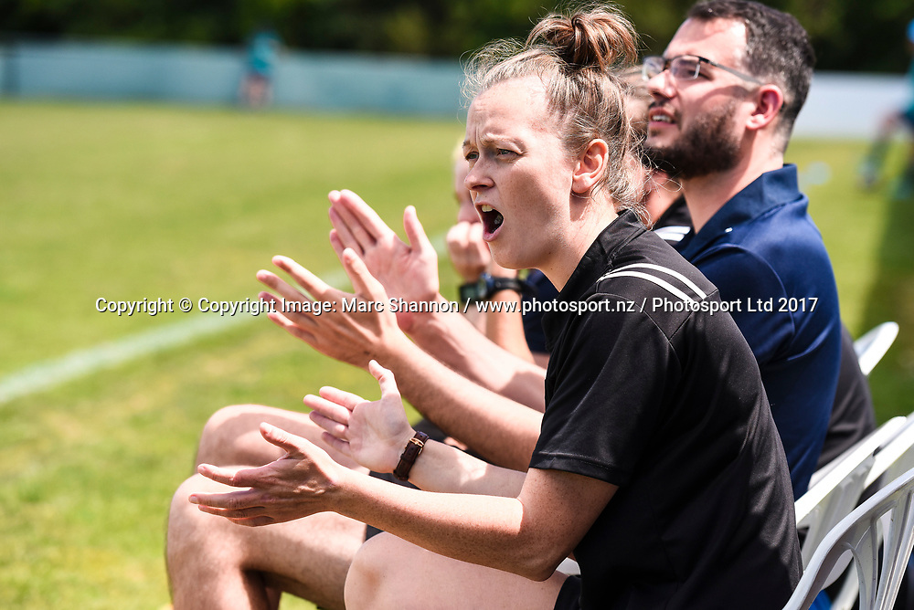 Auckland coach Gemma Lewis during a match against Southern Utd.<br /> Auckland Football Federation v Southern Utd, National Women's League Premliminary Final, Keith Hay Park, Auckland, New Zealand. 03 December 2017. &copy; Copyright Image: Marc Shannon / www.photosport.nz.