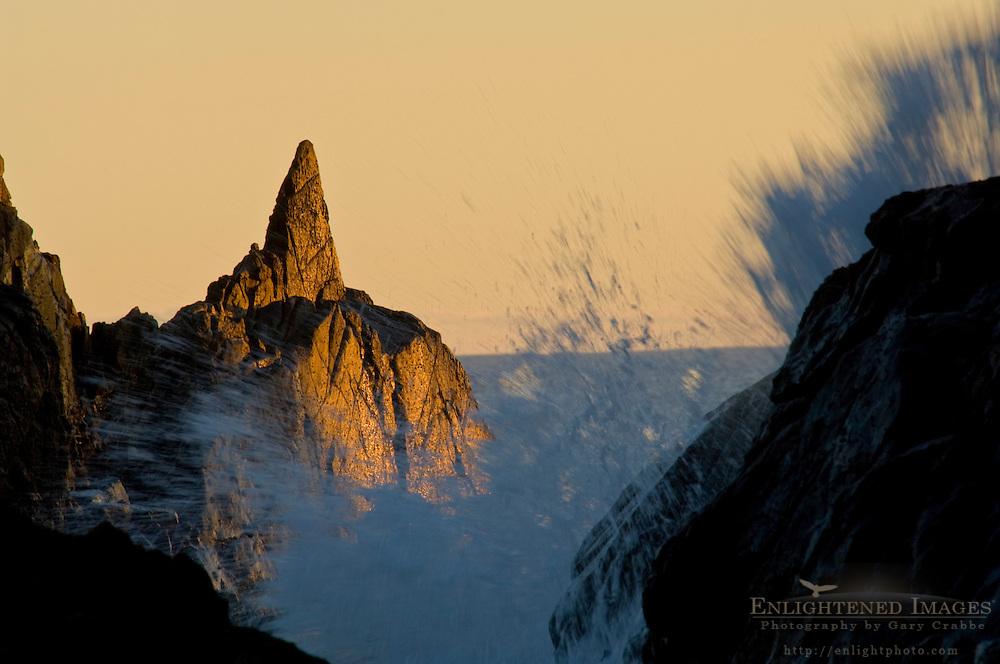 Coastal rocks and waves crashing at sunset, Pfeiffer Beach, Big Sur, California