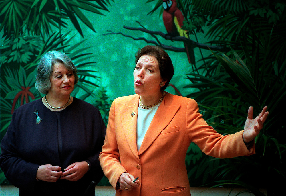Liberal Democrat  Mayoral candidate for London Susan Kramer (r) announces her running-mate for London mayor Baroness Sally Hamwee (L)  at a photocall at 'The Sanctuary' central London