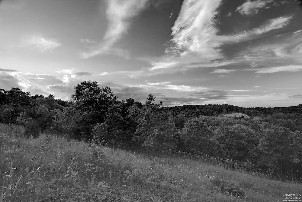 Black and white image of the Rouge River valley and clouds before sunset - Toronto, Ontario .3887x2591 (original size)