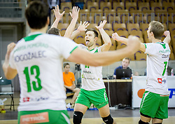 Gorazd Flisar of Panvita Pomgrad reacts during volleyball game between OK ACH Volley and OK Panvita Pomgrad in 1st final match of Slovenian National Championship 2013/14, on April 6, 2014 in Arena Tivoli, Ljubljana, Slovenia. Photo by Vid Ponikvar / Sportida