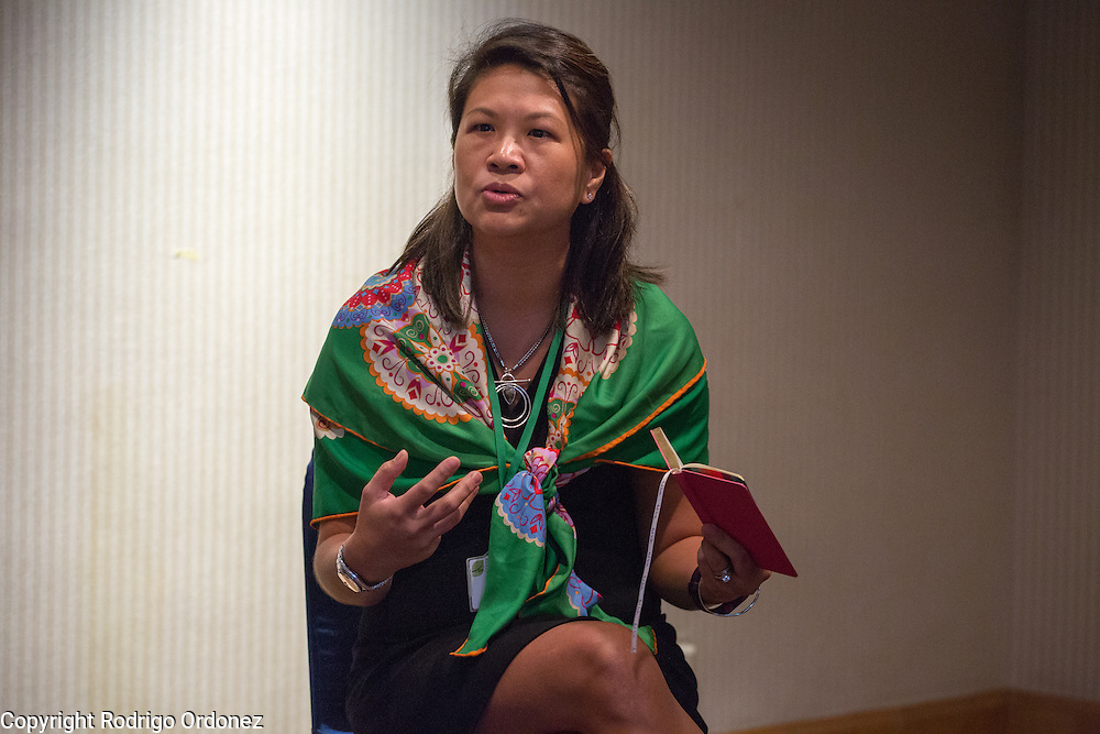 Cherie Tan, Procurement Operations Director for Sustainable Sourcing at Unilever, answers questions during a knowledge exchange session focused on the landscape approach at the General Assembly of the Tropical Forest Alliance 2020 in Jakarta, Indonesia, on March 11, 2016. Her presentation focused on the experience of taking a landscape management approach in North Sumatra, Indonesia. <br /> (Photo: Rodrigo Ordonez)